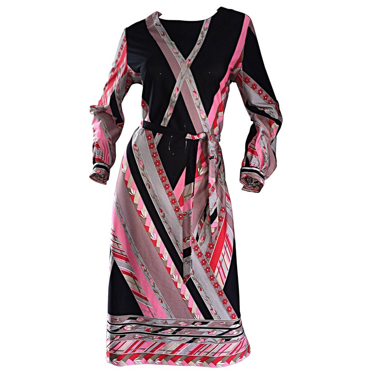 Vintage Lanvin 1970s 70s Large Pink + Red + Gray Belted Geometric Flower Dress For Sale