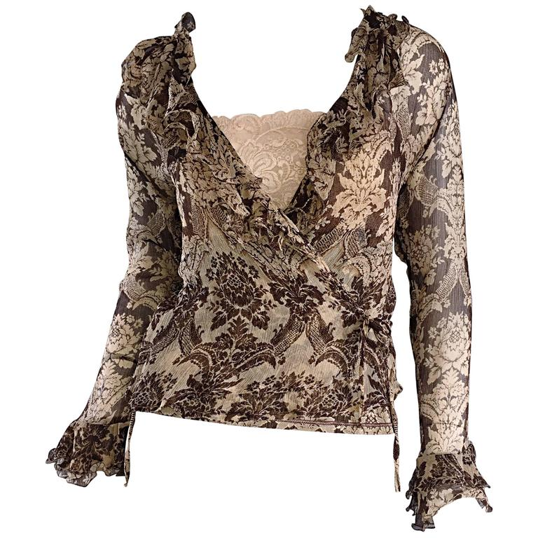 Amazing Vintage Roberto Cavalli Regal ' Victorian Lace ' Silk Blouse & Cardigan  For Sale