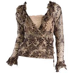 Amazing Vintage Roberto Cavalli Regal ' Victorian Lace ' Silk Blouse & Cardigan