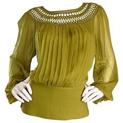 Beautiful Catherine Malandrino Silk Chiffon Chartreuse Green Blouse w/ Crochet