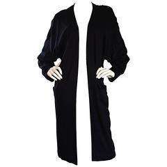Donna Karan ' Black Label ' Vintage Long Black Cardigan w/ Dolman Sleeves