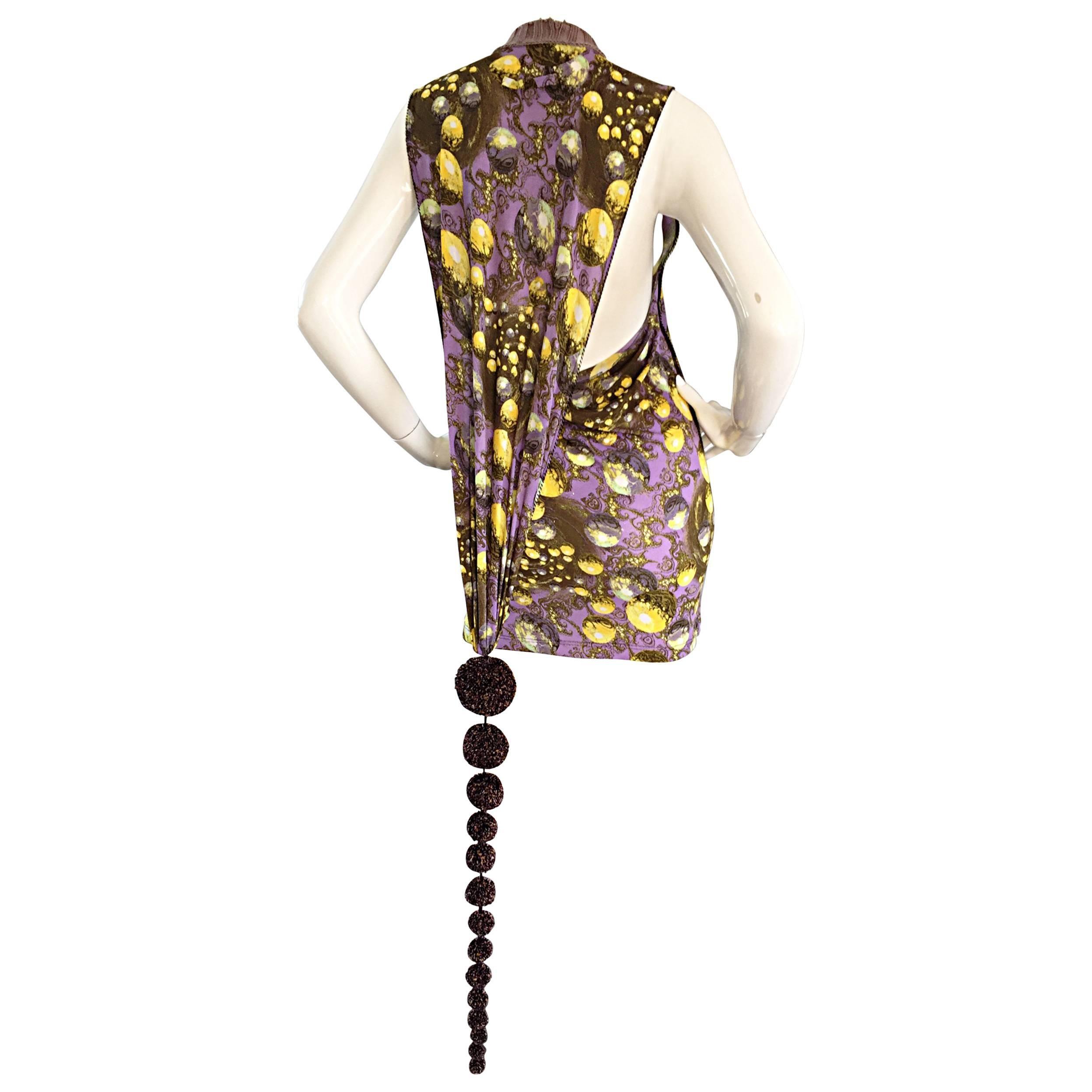Jean Paul Gaultier 90s Vintage Galaxy Print Mini Dress with Pom Pom Tail