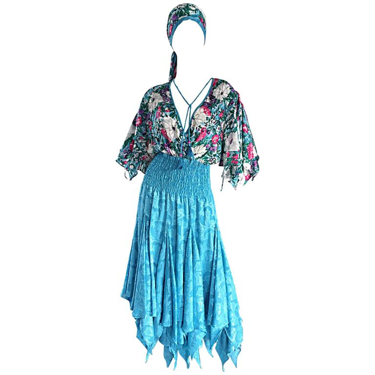 Amazing Vintage Diane Freis Colorful Beaded Boho Dress w/ Head Scarf  For Sale