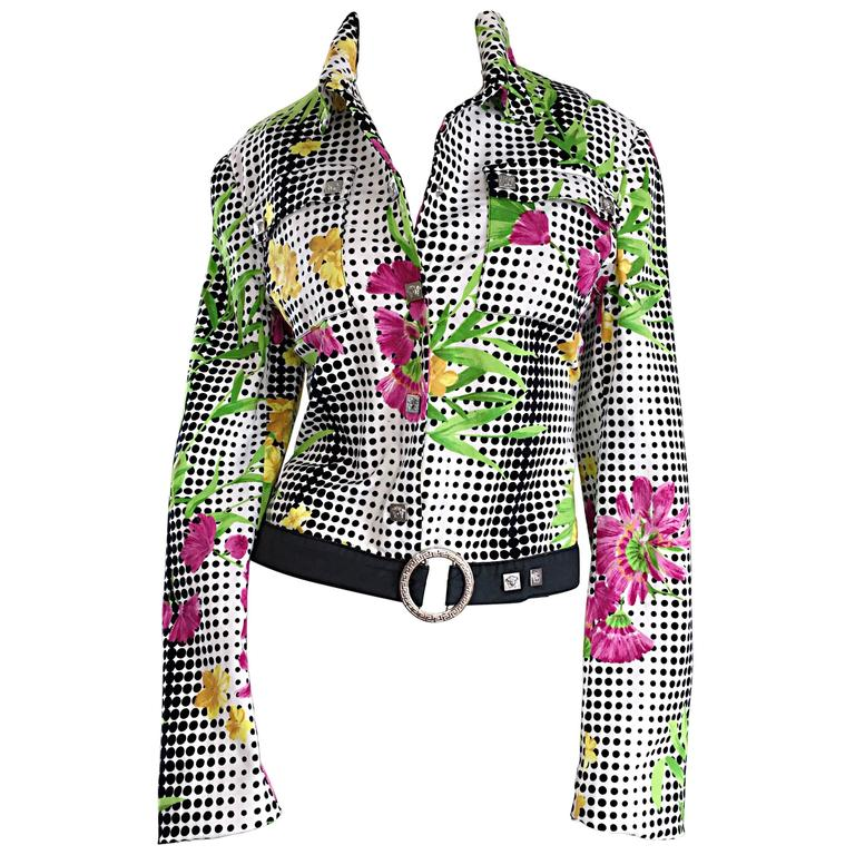 Important Vintage Gianni Versace Couture Op - Art Geo Floral Belted Jacket 1990s