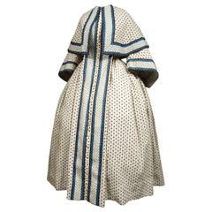 A Printed Cotton Crinoline Day Dress - France Napoleon III Period Circa 1865