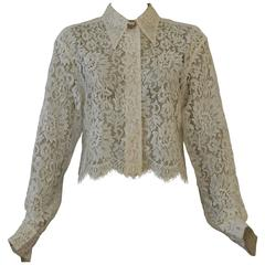 Gianni Versace Punk Lace Cropped Shirt Spring 1994