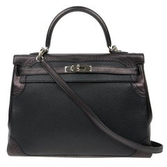 HERMES Kelly 35 Ghillies Flap Bag in Black Togo and Swift Leather