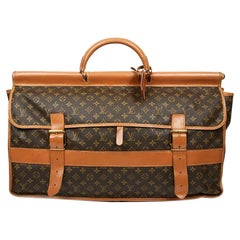 LOUIS VUITTON Vintage Hunting Travel Bag in Brown Toile and Leather