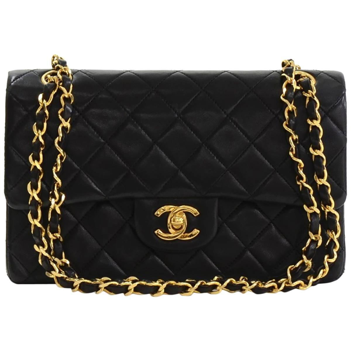 3791a83ab732 1990s Chanel Black Quilted Lambskin Vintage Small Classic Double Flap Bag  at 1stdibs