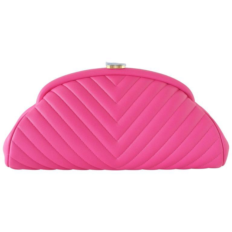 Chanel Bag Rare Timeless Pink Chevron Clutch Lambskin New 1