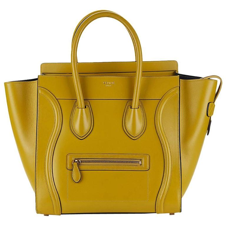 2014 Céline Chartreuse Yellow Smooth Calfskin Mini Luggage Tote 1