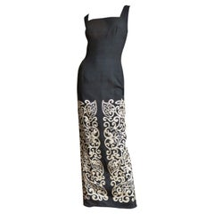 Mr Blackwell 1960s Maxi Dress with Embroidery