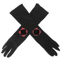 Chanel Black Kidskin Gloves with Pink Stingray Cutout - sz 7