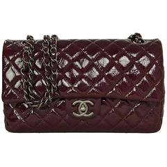 Chanel Burgundy Distressed Patent Medium Classic Double Flap Bag RHW
