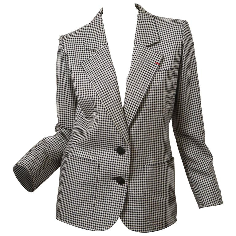 YSL Black and White Houndstooth Blazer