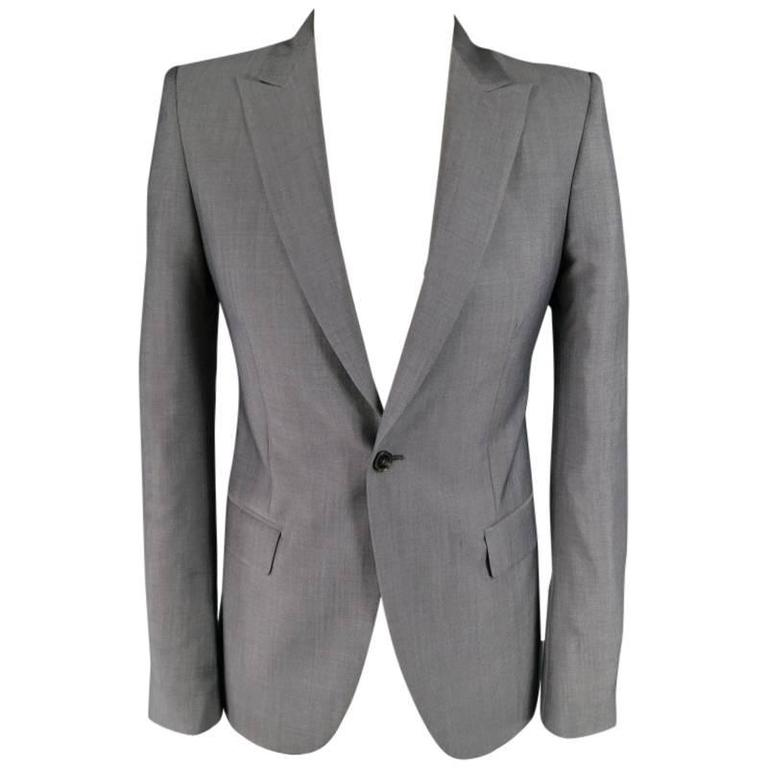 ALEXANDER MCQUEEN Men's 36 Short Gray Wool / Mohair Peak Lapel Sport Coat 1