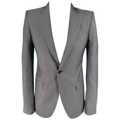 ALEXANDER MCQUEEN 36 Short Gray Wool / Mohair Peak Lapel Sport Coat