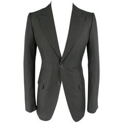 ALEXANDER MCQUEEN 38 Regular Black Cotton Canvas Peak Lapel Sport Coat