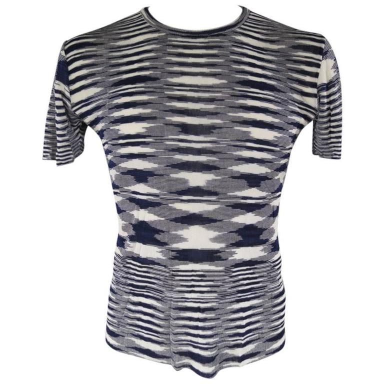 MISSONI Size L Navy and White Pattern Knit Stripe T-shirt at 1stdibs