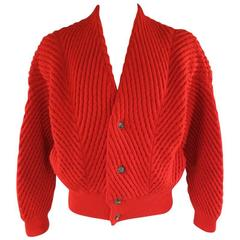 Vintage ISSEY MIYAKE M Red Textured Cable Knit Wool Batwing Cardigan