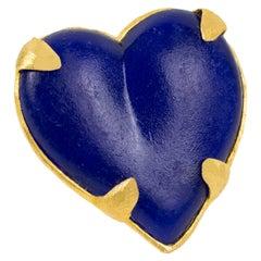 Edouard Rambaud Paris Gilt Metal and Cobalt Blue Resin Heart Pin brooch