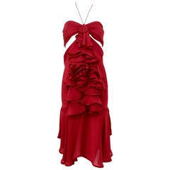 Yves Saint Laurent by Tom Ford red silk ruffle dress