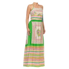 1970S Kelly Green & Pink Cotton / Rayon Floral Dress