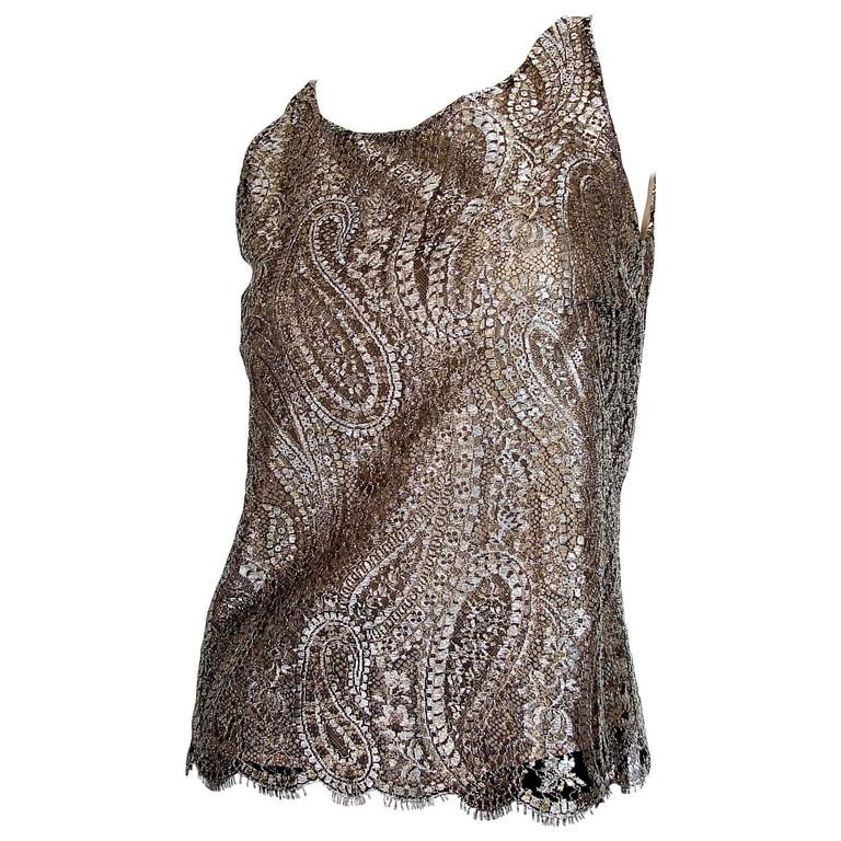Chanel Metallic Paisley Lace and Silk Shell Top 2013 Collection Size 38