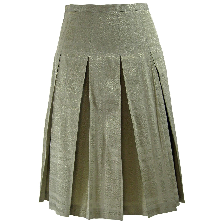 burberry metallic gold pleated skirt at 1stdibs