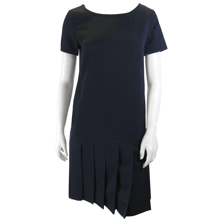 Courreges Navy Blue Drop Waist Pleated Dress