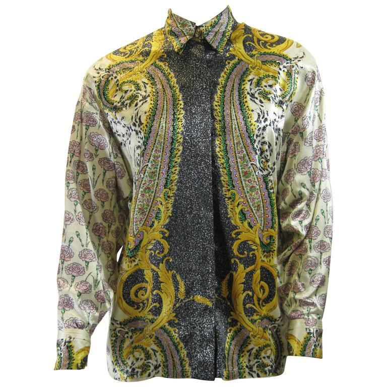 Gianni Versace Silk Floral Motif Print Blouse