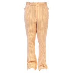 1970S ARNOLD PALMER Orange, Yellow & White  Striped Polyester Double Knit Pants