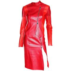Iconic Tom Ford For Gucci FW 1997 Two-Tone Red Leather Moto Jacket & Skirt Set!