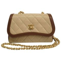 Chanel Rare Vintage Beige and Brown Two Tone Calfskin Gold HW Flap Shoulder Bag