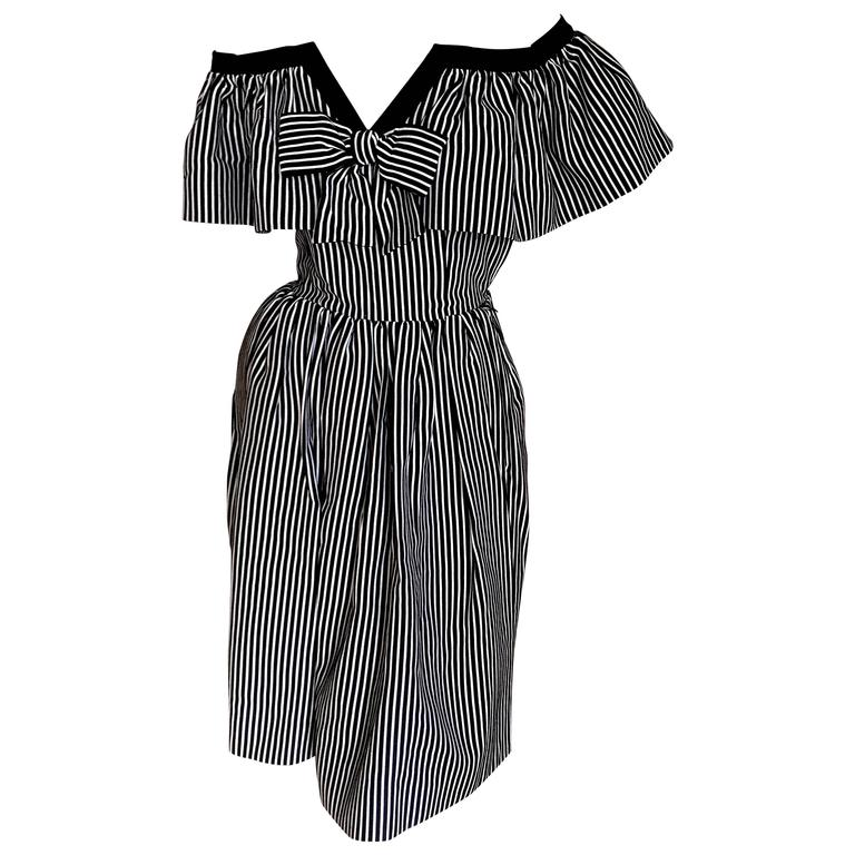 Yves Saint Laurent 1970's Rive Guache Cotton Off the Shoulder Dress For Sale
