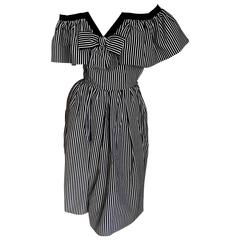 Yves Saint Laurent 1970's Rive Guache Cotton Off the Shoulder Dress
