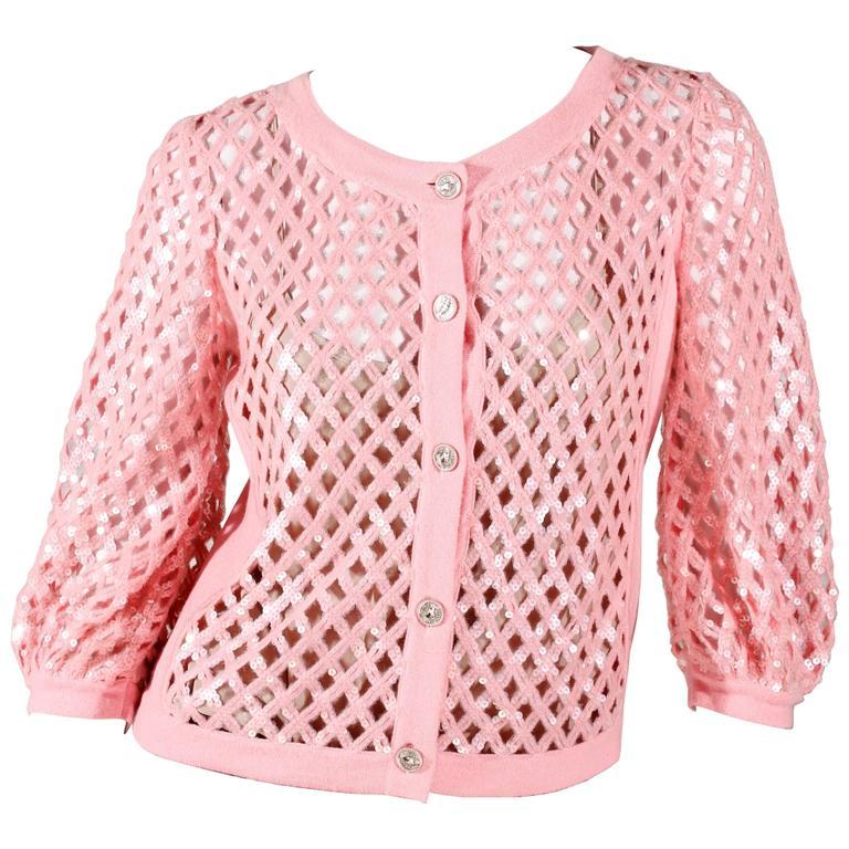 Chanel Sequin Cardigan - baby pink 1