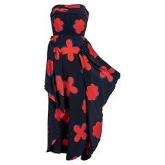 Vintage Chloé by Karl Lagerfeld Strapless Silk Printed Dress Spring 1979