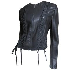 Christian Dior Lace Up Leather Jacket