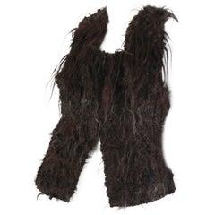 1970S Gilbert Etiemble Chocolate Brown Wool & Fur Hand Knit Artesian Vest
