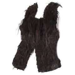 1970s Hand Woven Fur Vest from French Artesian Gilbert Etiemble
