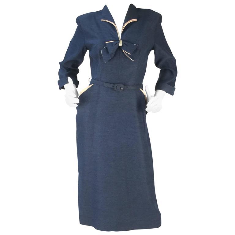 1940s Mar Tee Original Cadet Blue Dress  1