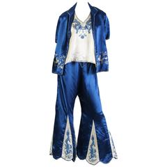 Dragon Embroidered Antique Chinese Pajamas