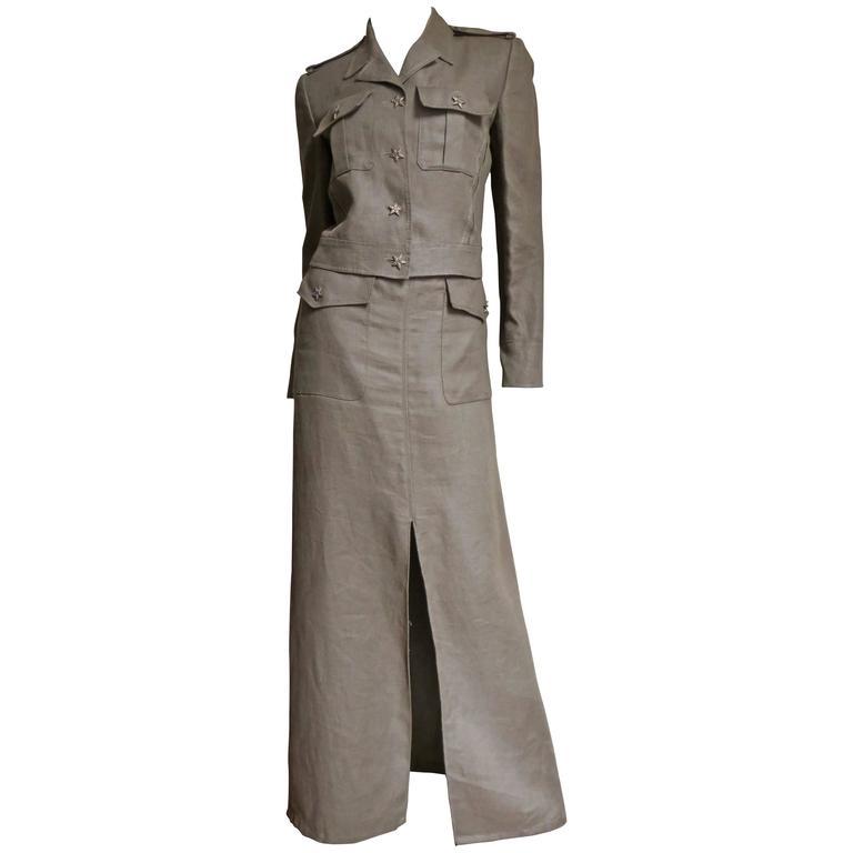 1990s Valentino Linen Jacket & Skirt