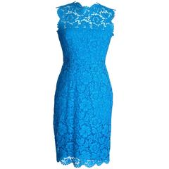 VALENTINO Signature Lace Dress Vivid Blue 6 nwt