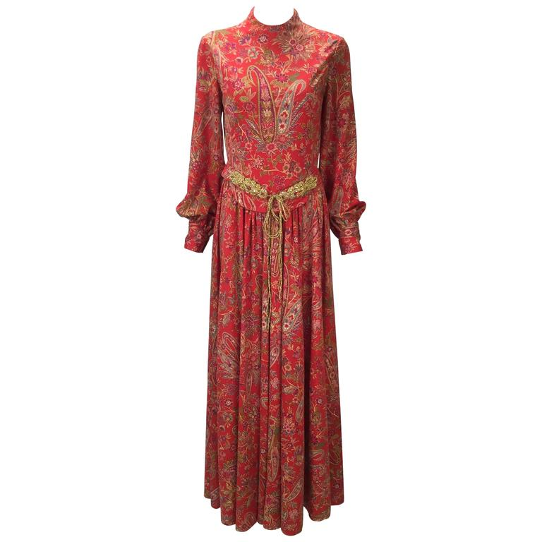 1960s Shannon Rodgers for Jerry Silverman Floral Paisley Maxi Dress with Belt