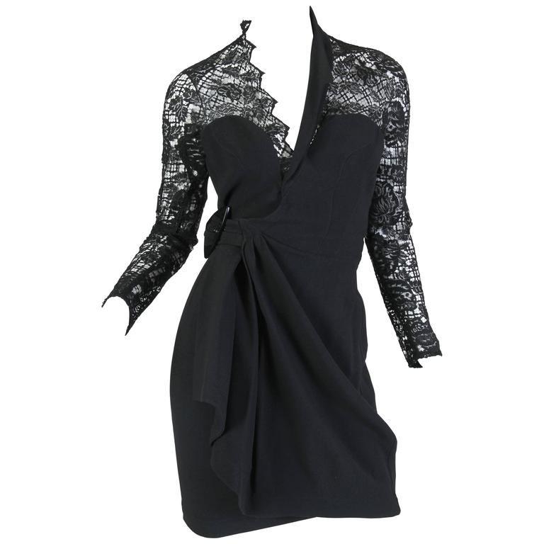 Thierry Mugler Asymetrical Lace Dress
