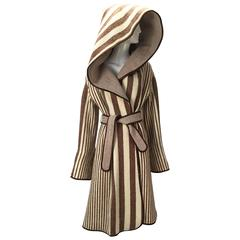 1970's Casa De Lama Cream and Brown Striped Wrap Coat with Hood