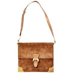 Lederer Suede Shoulder Bag With Gold Detail