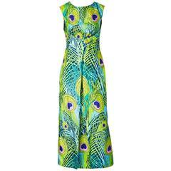 La Mendola Silk Peacock Pattern Maxi Dress